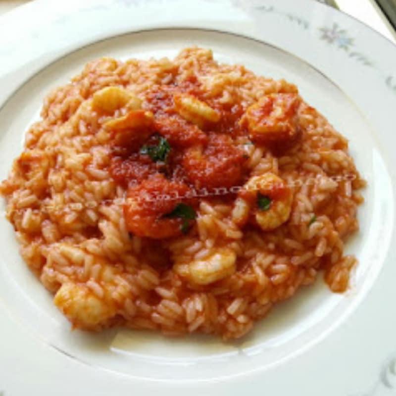 risotto de tomate con camarones