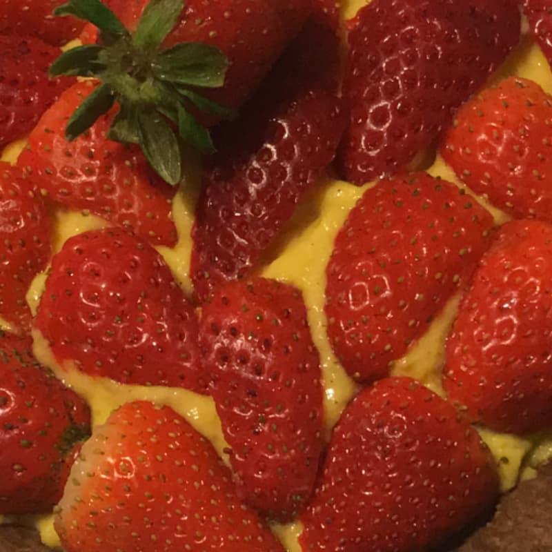 natillas vegano con las fresas