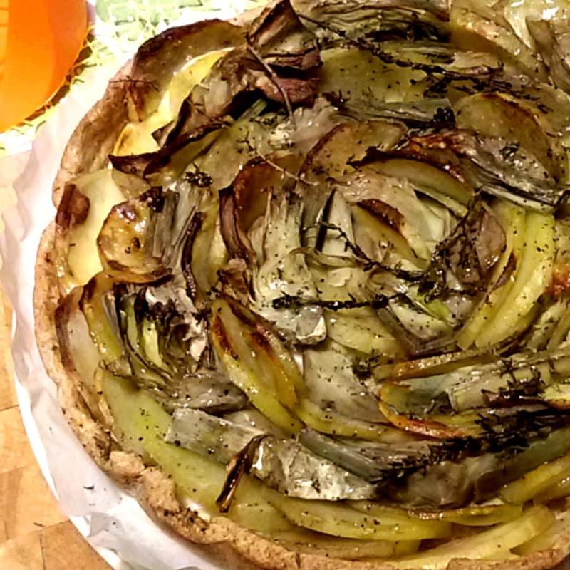 alcachofas circulares y patatas