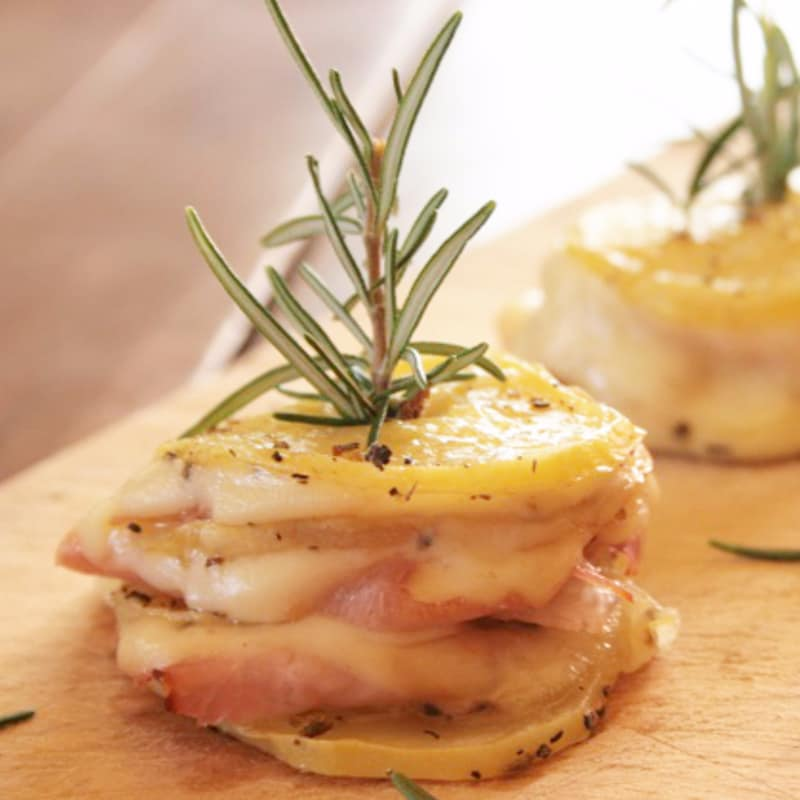 potato towers with ham and scamorza