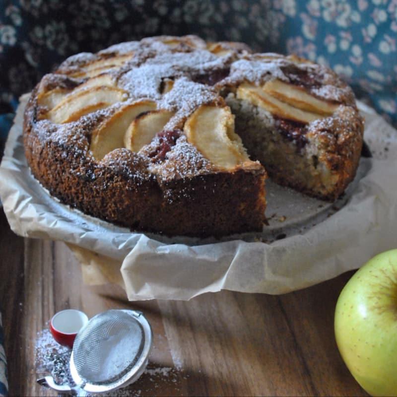 pastel de manzana y los higos