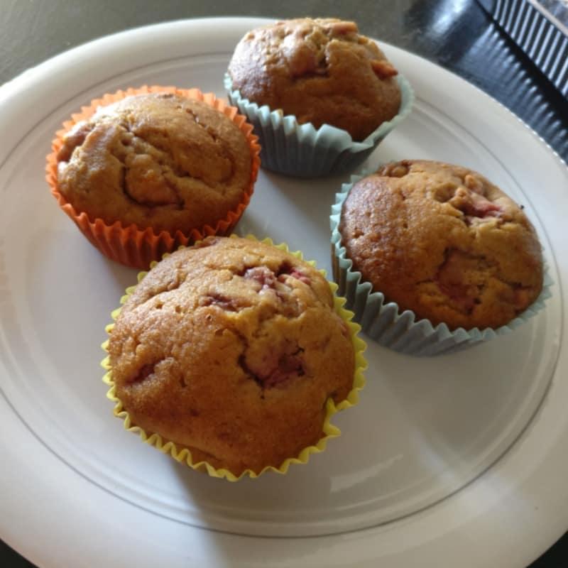 Muffin con fresas y almendras gluten y leche