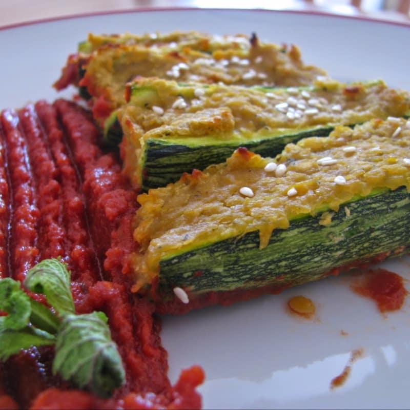 Barchette di Zucchine con ripieno di lenticchie alla menta