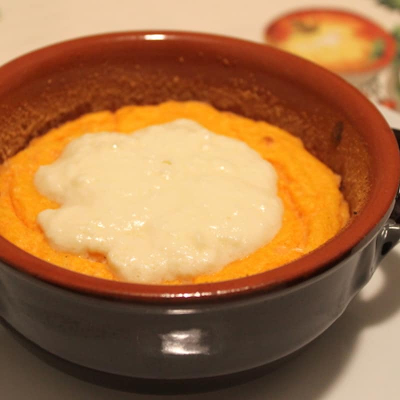 Pumpkin soufflé and fontina