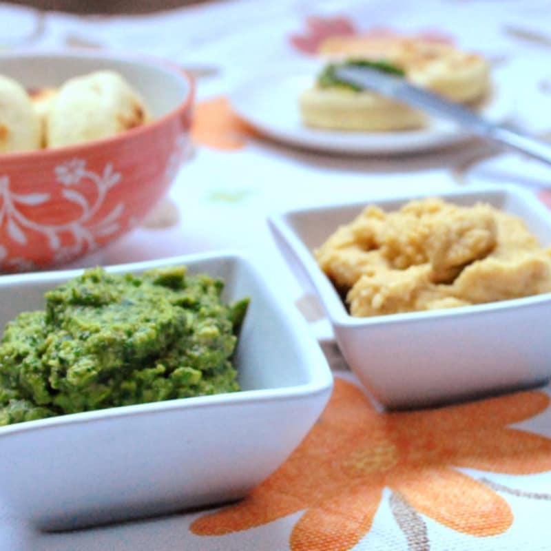 garbanzo hummus y espinacas
