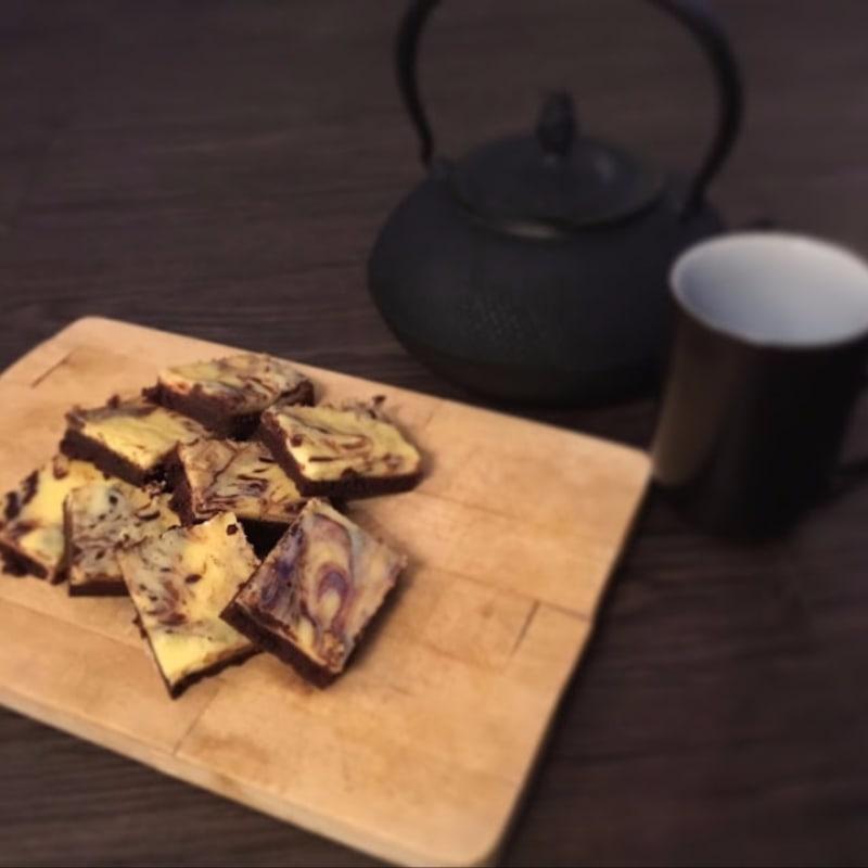 Quadrotti marmorizzati al cioccolato