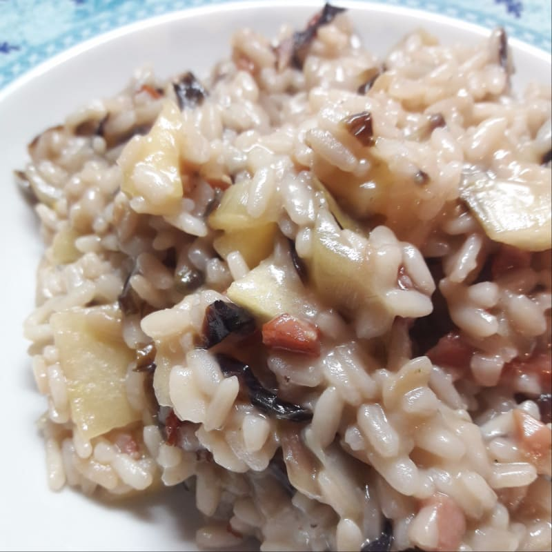 Risotto with radicchio, speck and apple