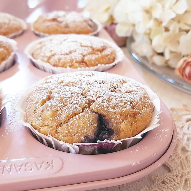 Muffins with rice flour, dried fruits and blueberries