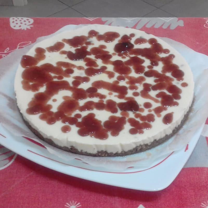Tarta de queso con fresa esmalte Atasco en ...