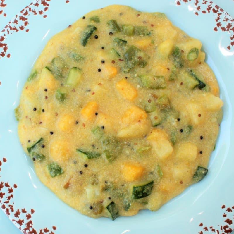 receta vegetal upma con harina de maíz de Indiana