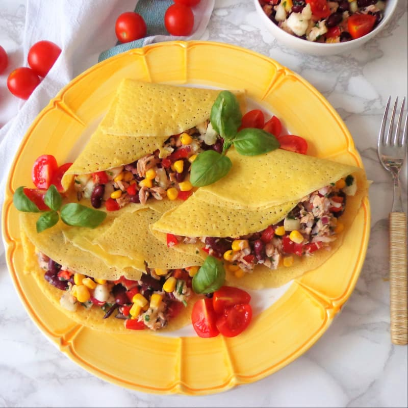 Crepes salted with tuna, red beans and corn