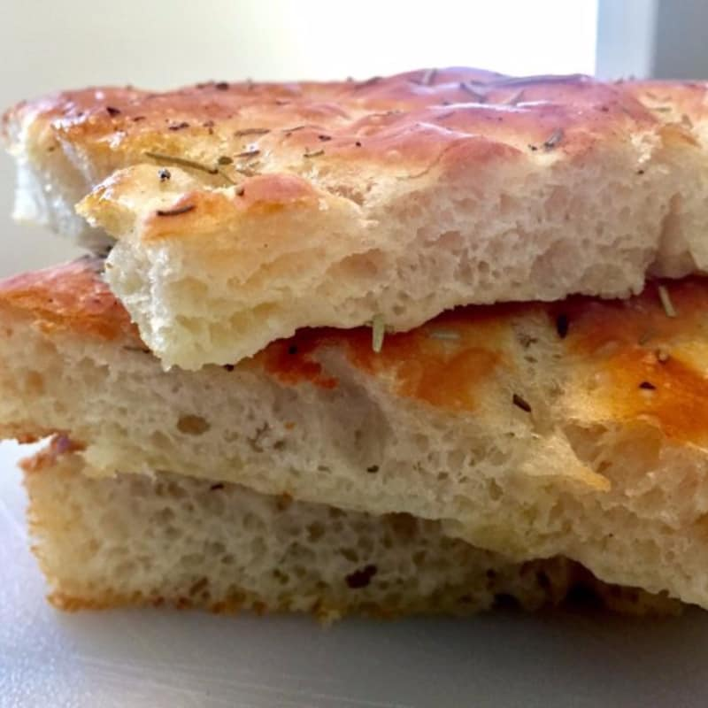 Focaccia with soft rosemary