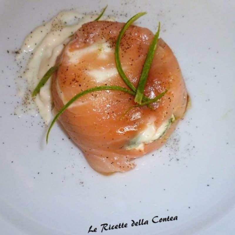 flan delicado con salmón y calabacín stracchino