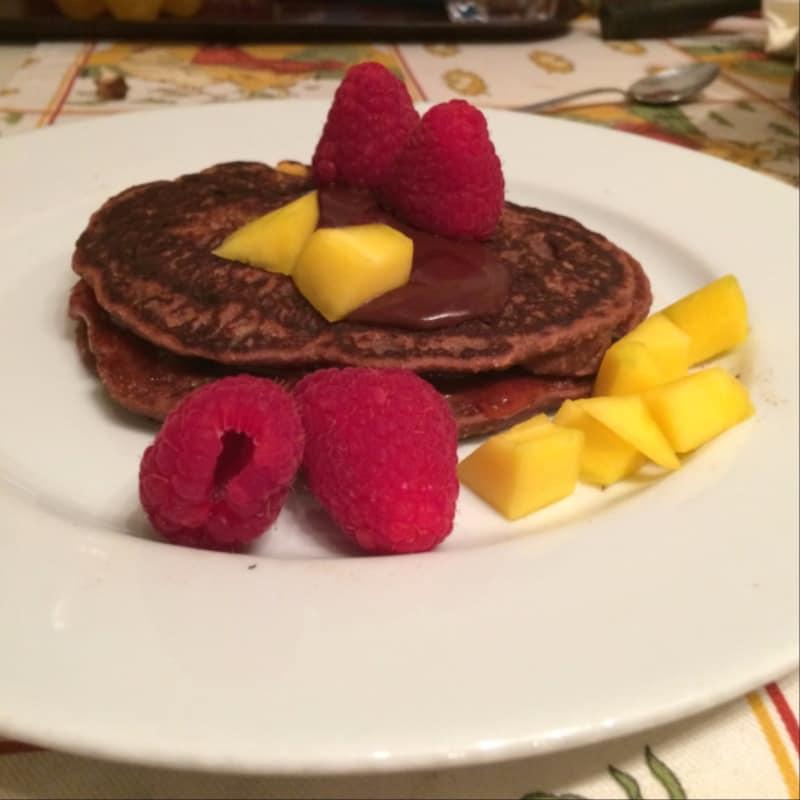 tortitas vegetarianas con cioccococco de mango