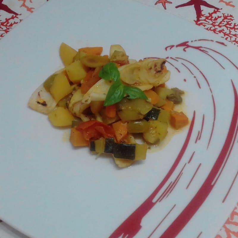 Calamares con verduras ...