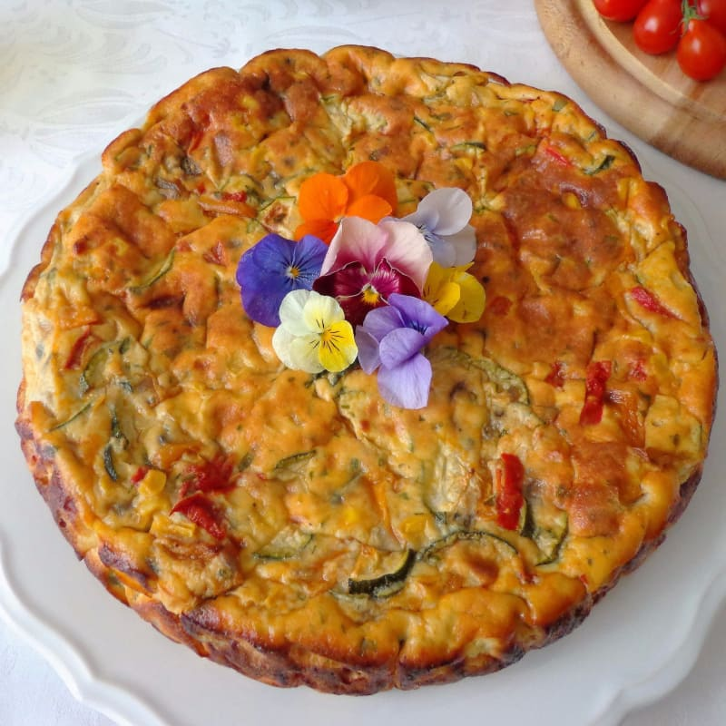 Tortilla con verduras y al horno ricotta