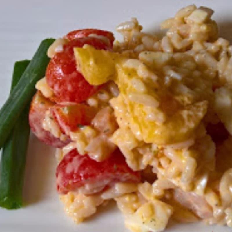 ensalada de arroz y camarones