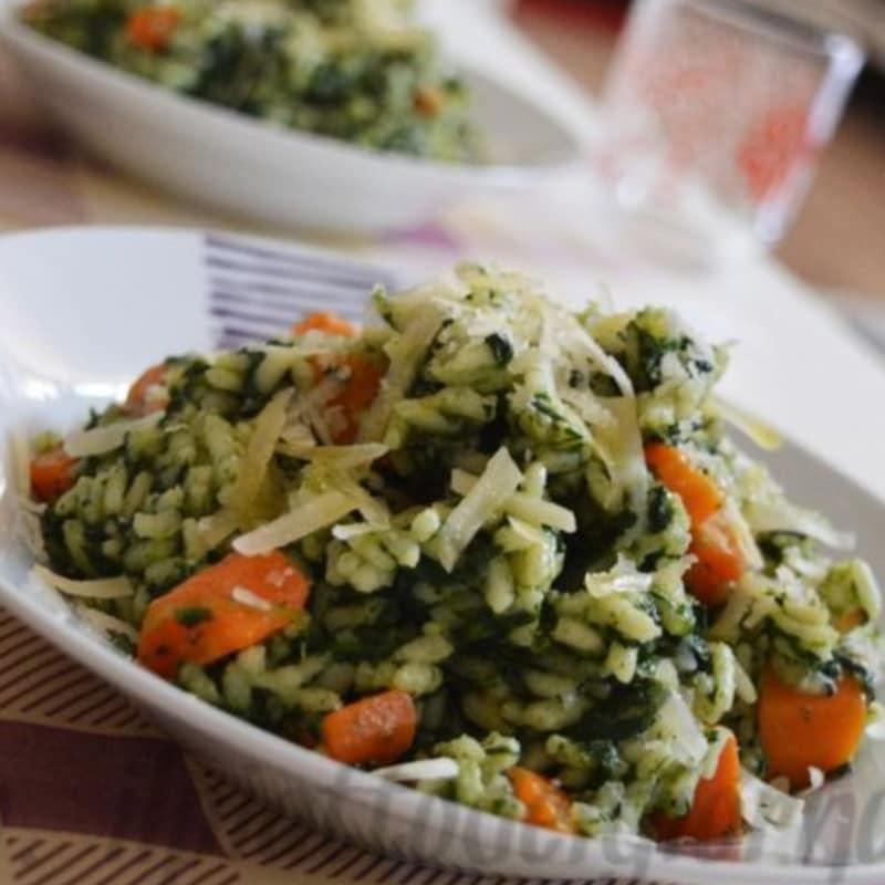 Risottino con spinaci e carote