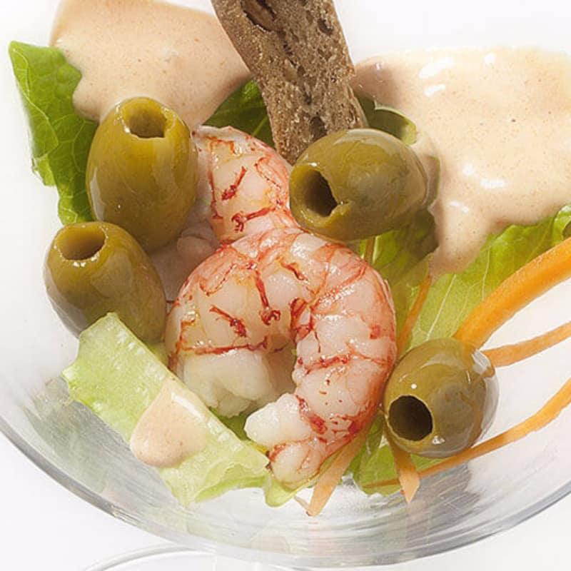 Cóctel de camarones con oliva Nocellara Etnea
