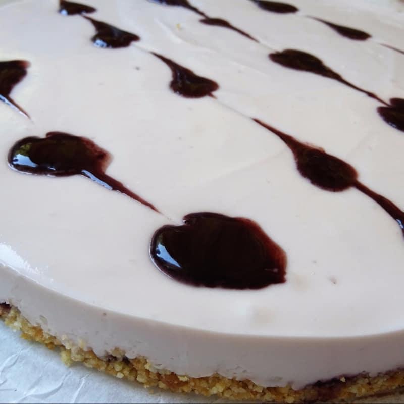 pastel de queso con mermelada fría Más