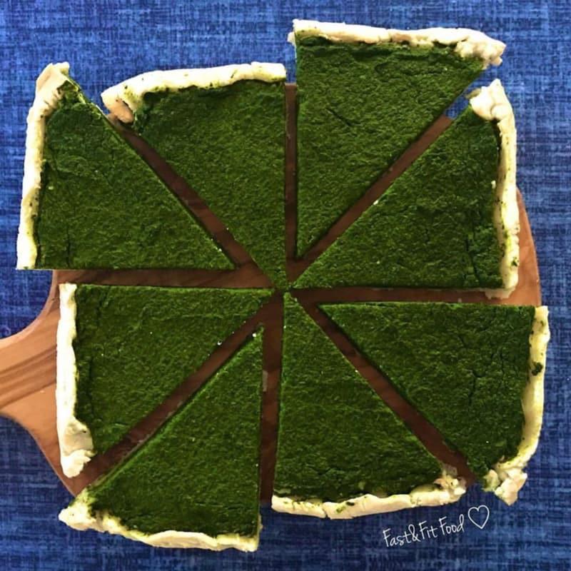 Quiche y sin gluten vegetariana tofu y espinacas