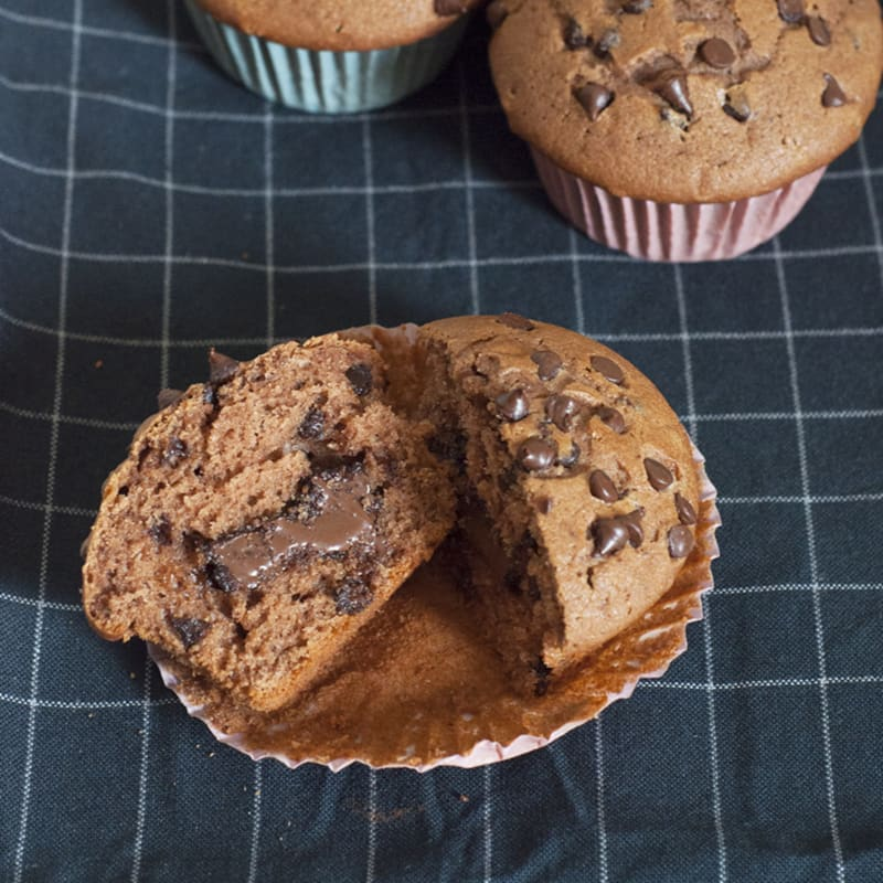Muffin de chocolate triple