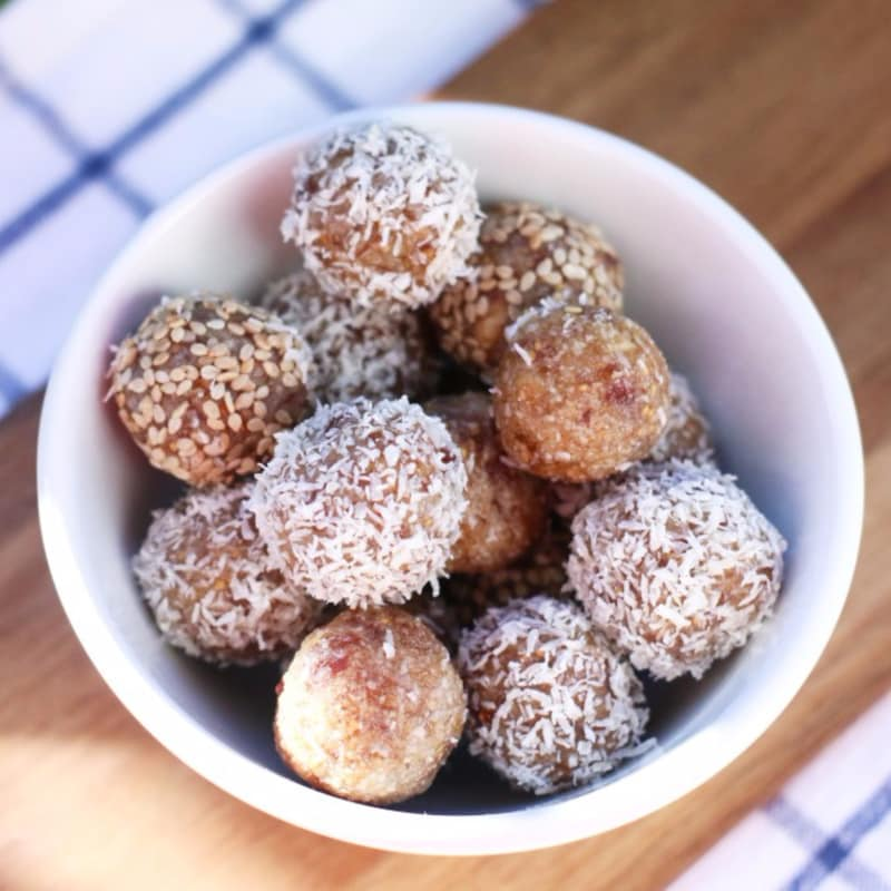 bolas de energía con higos secos y miel