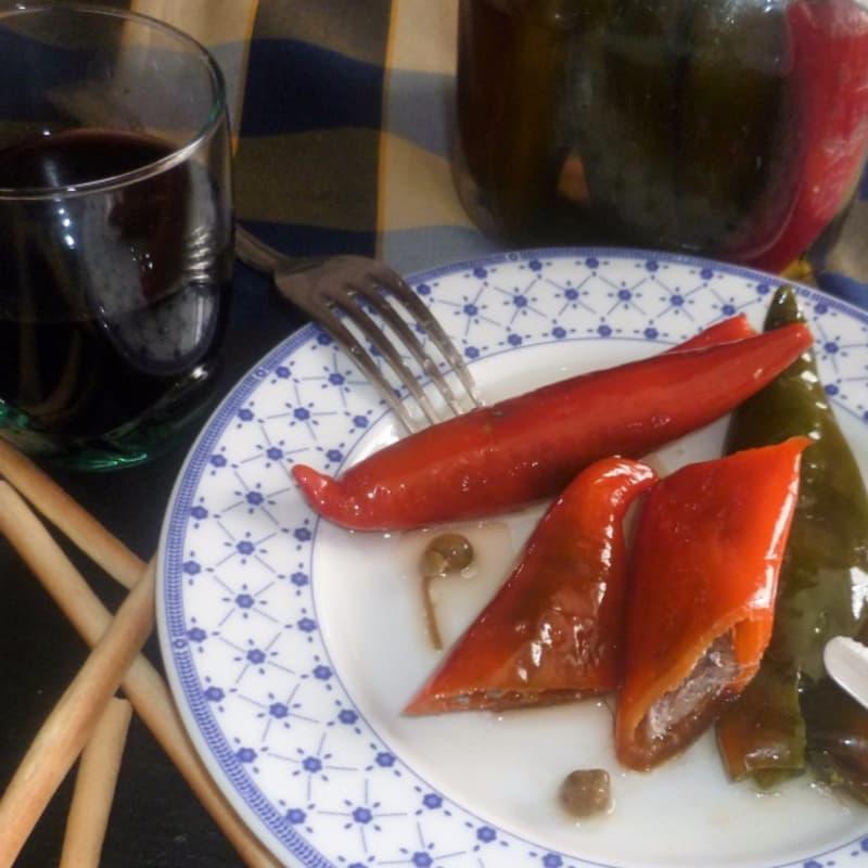 Cruasanes chile pimientos Anchoas saladas