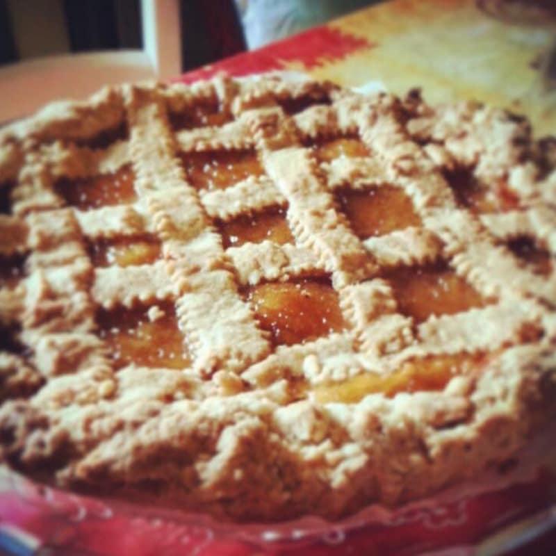 tarta de espelta y mermelada de melocotón Bio