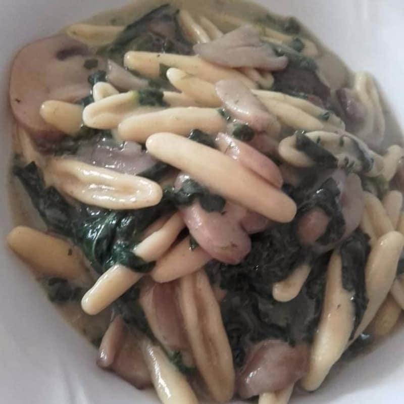 Cicatelli con espinacas, setas y bechamel