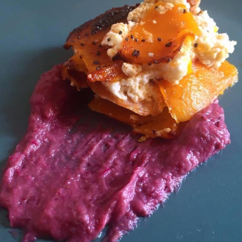 pastel de calabaza con salmón y robiola