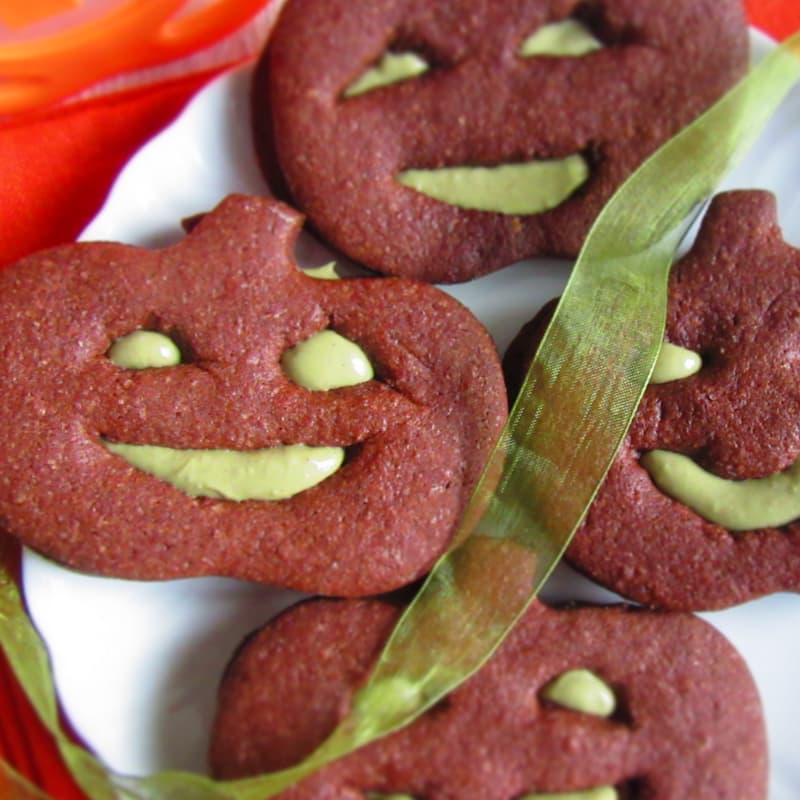 Calabazas en el cacao y el pistacho crema Receta de Halloween