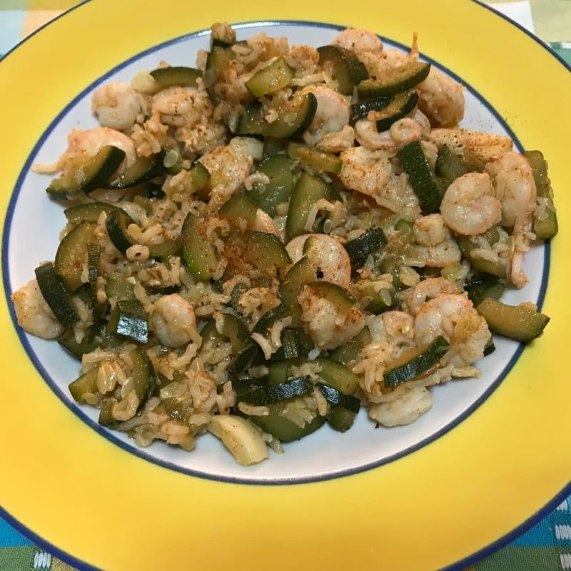 calabacín y gambas arroz Basmati