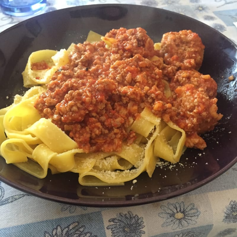 Pappardelle with meat sauce with meatballs