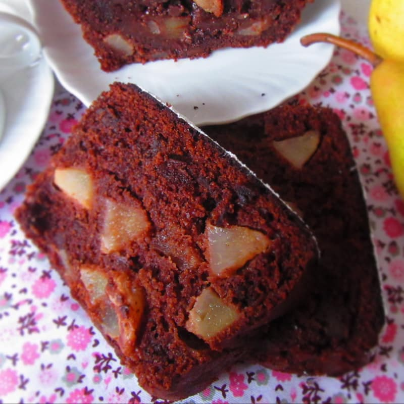 Plumcake Pere y chocolate (sin mantequilla)