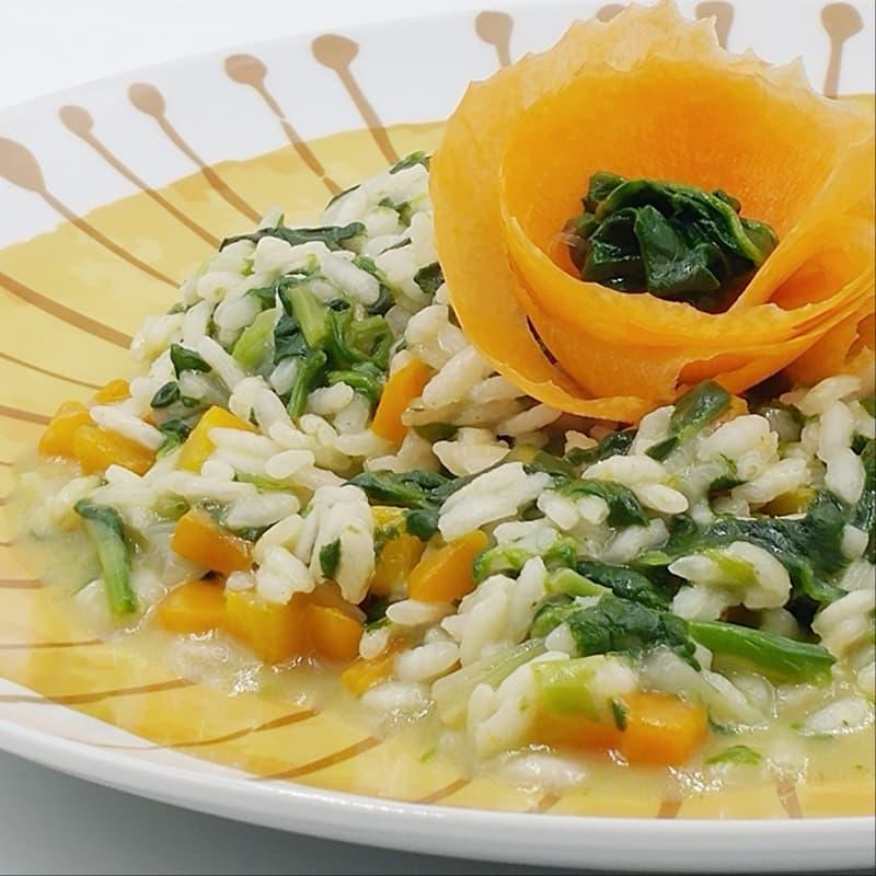 Risotto de espinacas y zanahorias