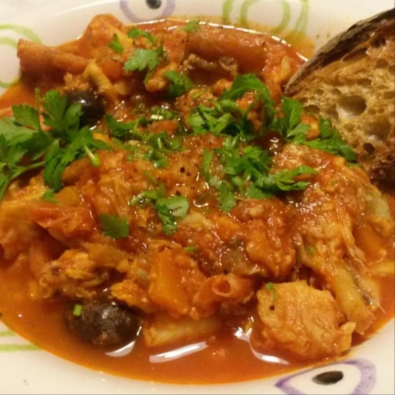 Fish soup with tomato sauce