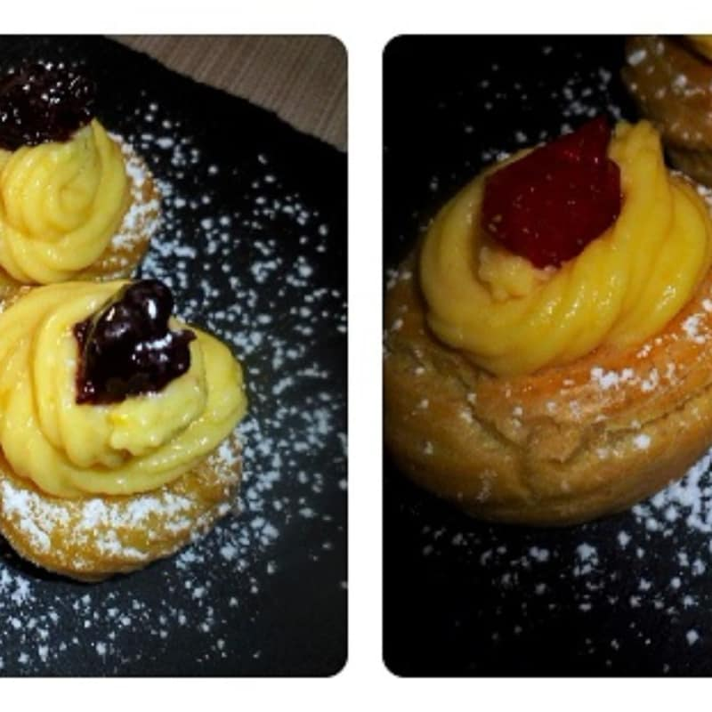 Zeppole di San Giuseppe baked and fried