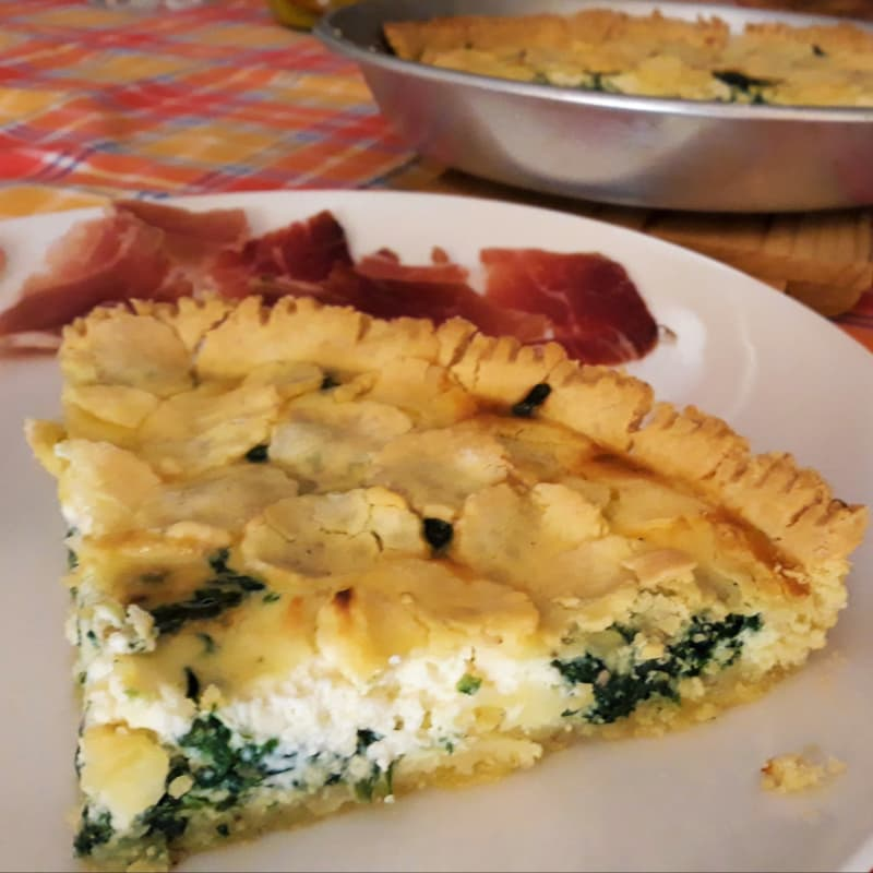Gluten-free savory pie with spinach and robiola