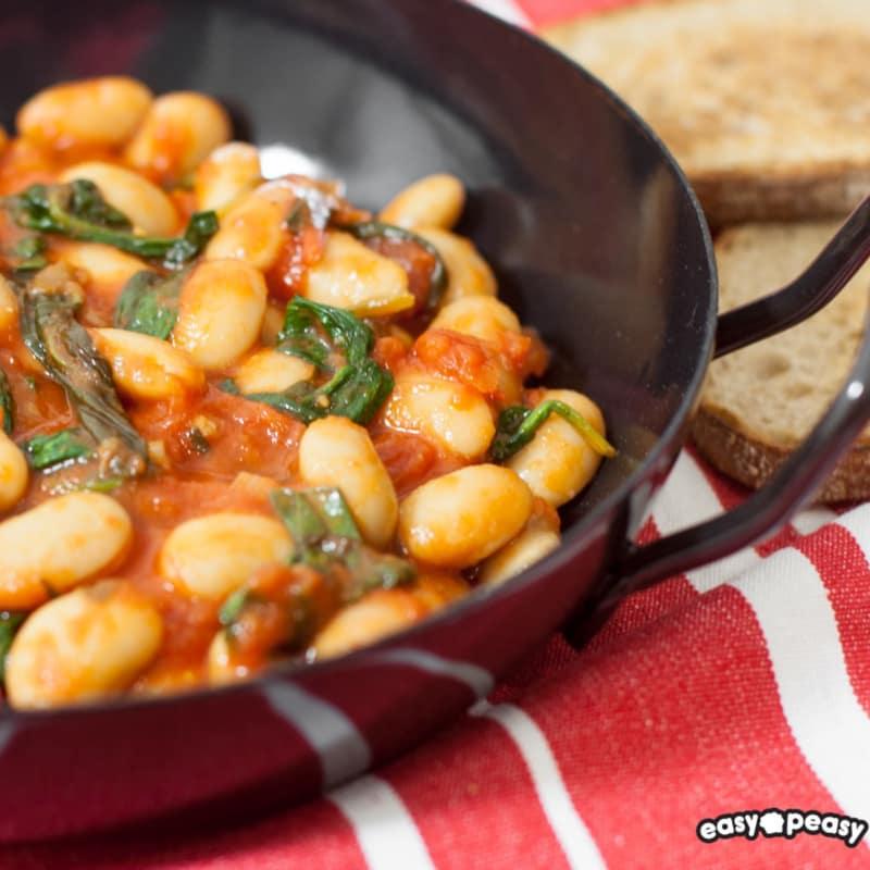 Fagioli e spinaci piccanti