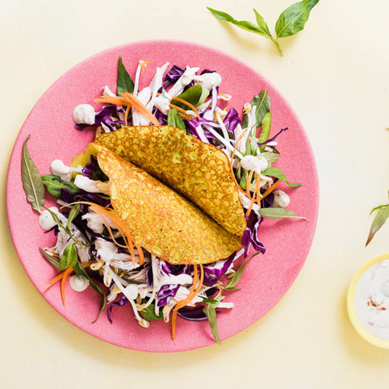 Crispy pancakes with chicken and asian salad