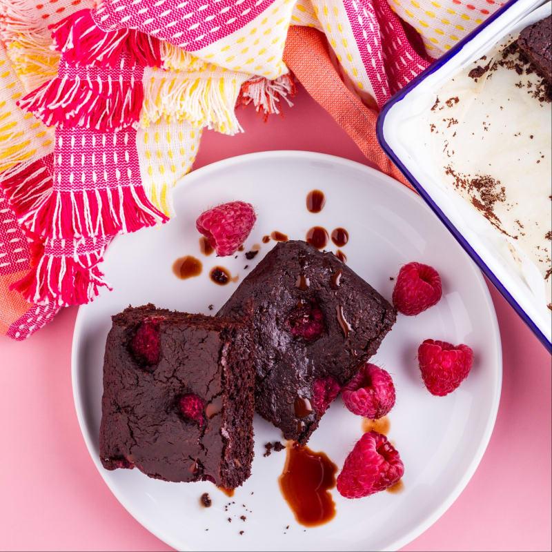 Brownie de frambuesa en versión ligera