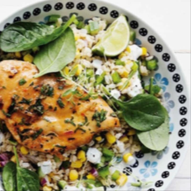 Pollo peri peri con insalata di riso