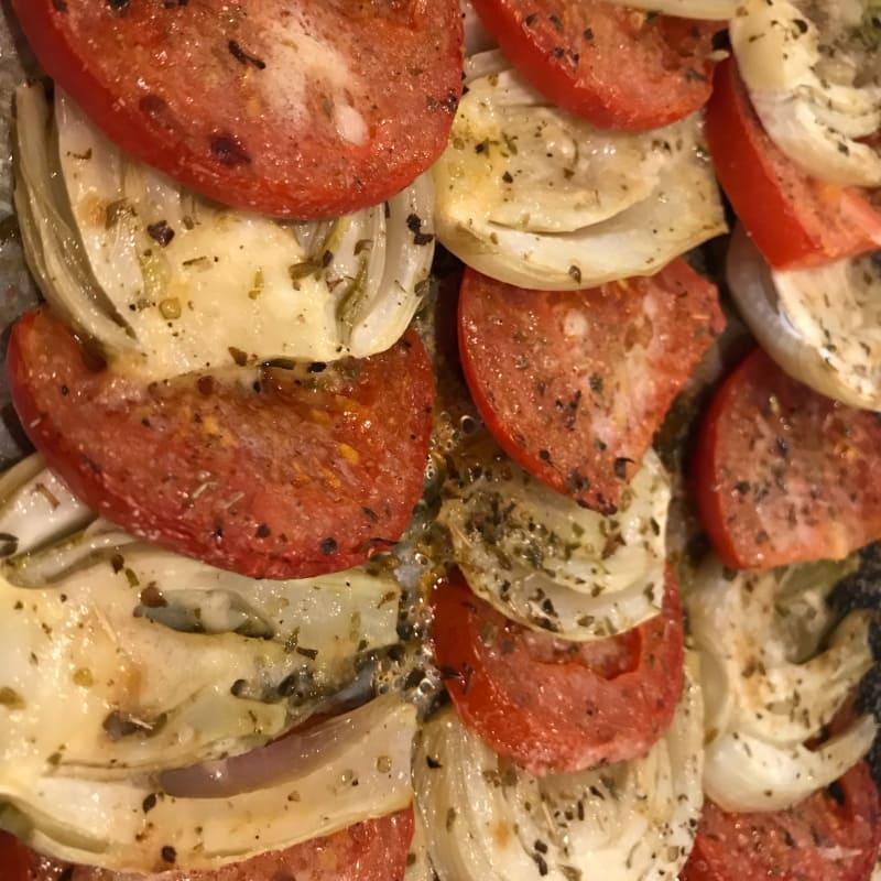 Finocchi e pomodori al forno