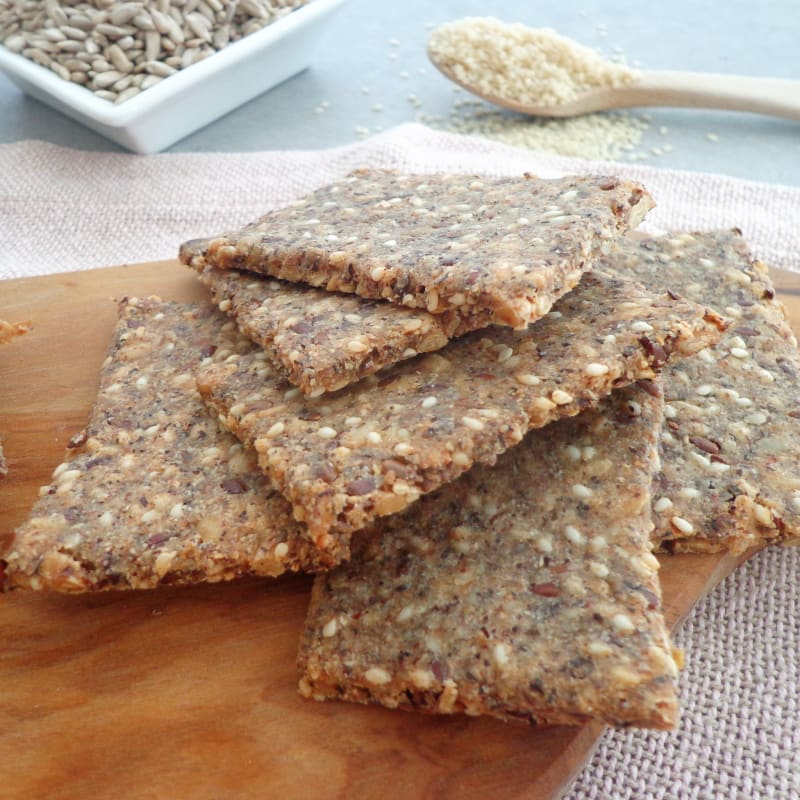 Crackers of seeds and buckwheat flour, gluten-free