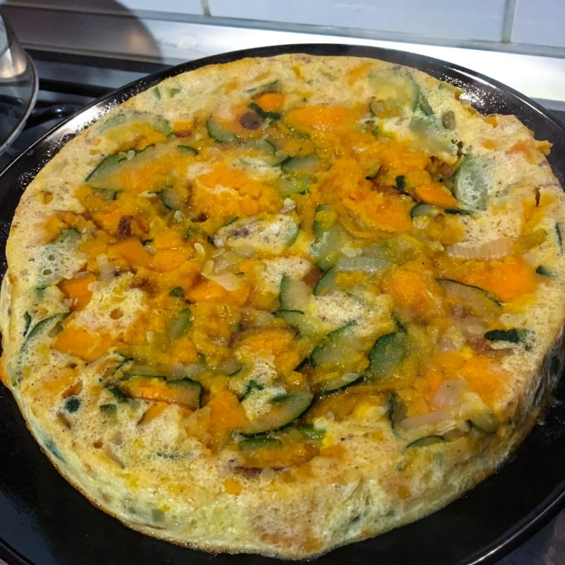 Tortilla al horno con calabacín y batatas