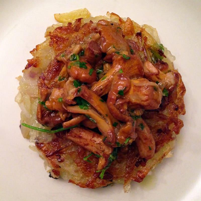Potato rostis and celeriac with mushrooms