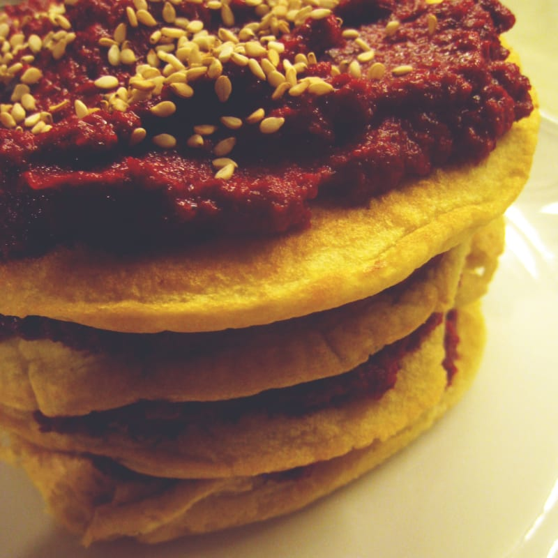 Soft Pancakes with Beetroot Cream