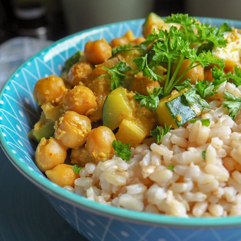 Curry di ceci e zucchine