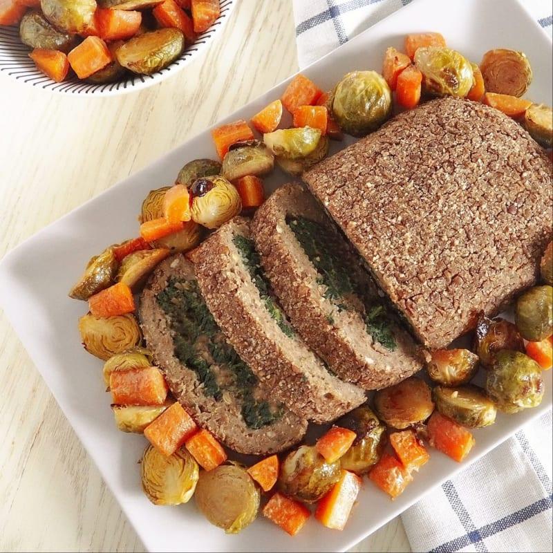 Stuffed lentil meatloaf